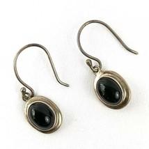 Sterling Silver 925 Vintage Onyx Black Oval Shaped Dangling Drop Earrings - $35.77
