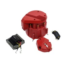 HEI Distributor 8CYL Tune-Up Kit 65k Volt Ignition Coil Red Super Male Cap image 1
