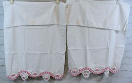 Vintage Pair/Set of 2 Pillowcases - Fancy Pink & White Crocheted Trim/Edge - $34.64