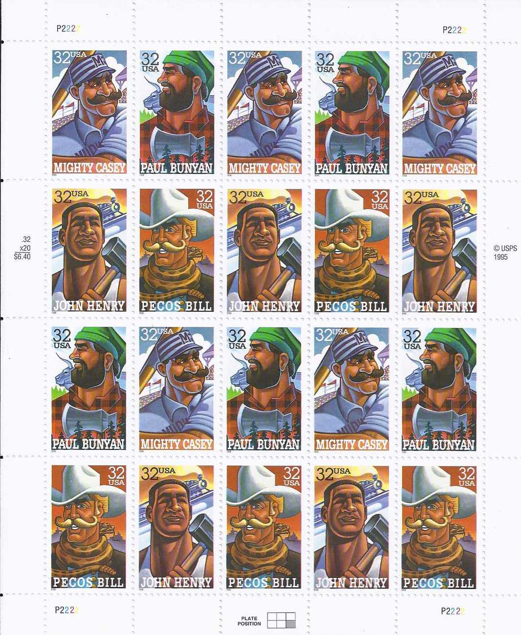 FOLKLORE HEROES - 20 (USPS) MINT SHEET STAMPS .32 CTS