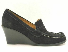 Kors Michael Kors Women Wedge Heel Penny Loafers Size US 5.5M Black Leather - $17.50