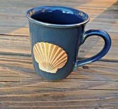 "Vintage Japan Otagiri Mug w/ Clam Shell 8oz Blue Gold Coffee ""Golden Tre... - $9.28"