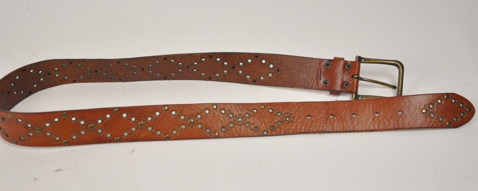 "Women's FOSSIL Brown Leather Belt Brass Rivets Diamonds Size Medium 33""-37"" image 3"