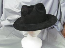Black Fedora Hat Flocked Plastic Great For Phantom, Gangster - $3.50