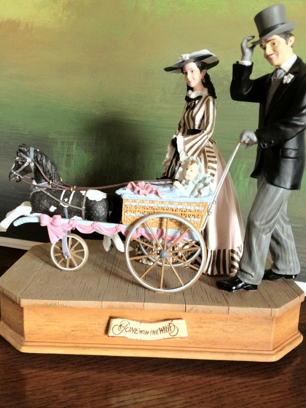 San Francisco Music Box Co - Rhett & Scarlett w/Baby Carriage Gone With the Wind