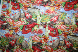 SEAFOOD PLATTER FROM MICHAEL MILLER - 100% COTTON FABRIC - $7.91