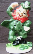 Vintage LEFTON St. Patrick's Day JIGGING DANCING LEPRECHAUN Ceramic Figu... - $98.99