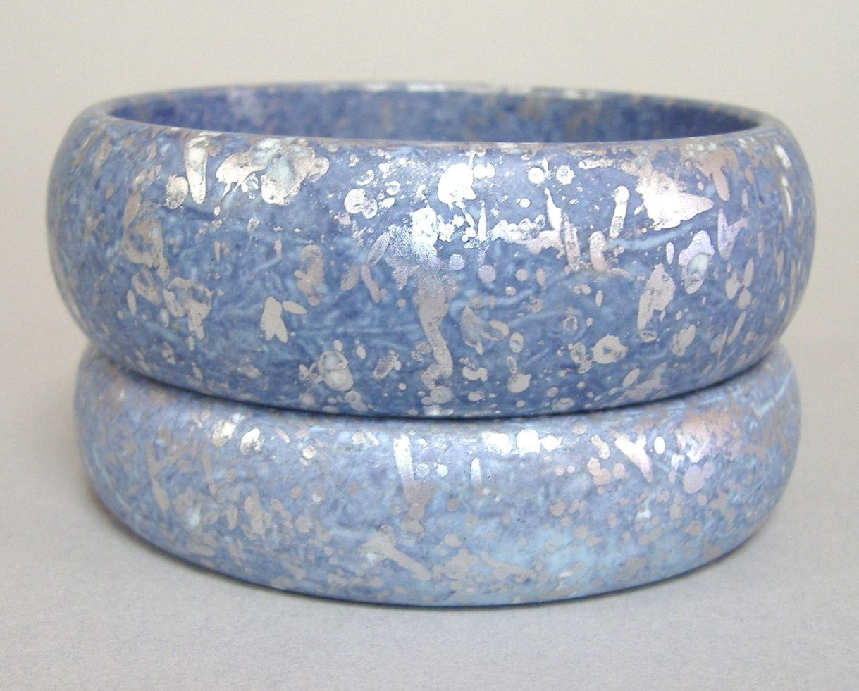 Bracelet Blue Silver Painted Wood Bangle Set of 2 Pair Jewelry