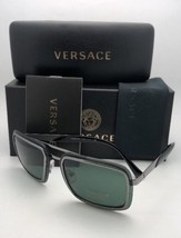 New VERSACE Sunglasses MOD.2183 1001/71 63-12  Gunmetal & Black Aviator w/ Green
