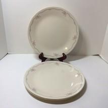 "4 Dinner Plates English Breakfast Corelle Pink Flowers Blue Trim 10.25"" - $19.34"