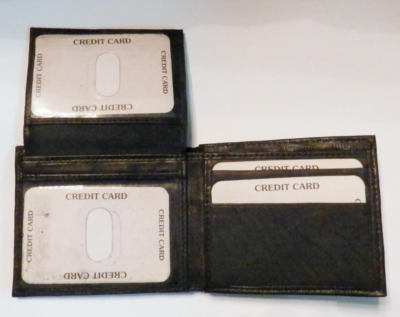 Genuine Leather Men's Bi-Fold Wallet- #60 BLACK
