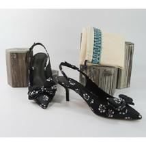 Tory Burch Rosalind Black Floral Pointed Toe Bow Slingback Kitten Heels 8 NIB - $162.86
