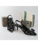 Tory Burch Rosalind Black Floral Pointed Toe Bow Slingback Kitten Heels ... - $162.86