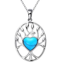 Women's Turquoise Heart, Love and Life Tree Shape Pendant Neckla - $55.55