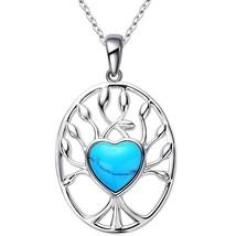 Women's Turquoise Heart, Love and Life Tree Shape Pendant Neckla - $55.55