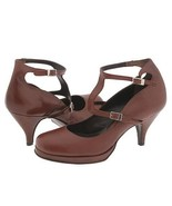 Type Z Gemma Womens Shoes T-Strap Heels Strappy Dress Buckles Pumps Brow... - $38.00