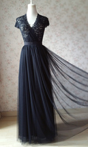 BLACK Long Maxi Tulle Skirt High Waisted Black Tulle Skirt Wedding Skirt image 1