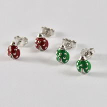 Silver Earrings 925 Jack&co with Ladybug Enamelled Red or Green image 2