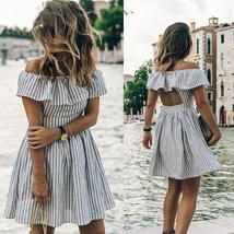 Summer Style Women's Sexy Off shoulder Striped Sundress image 5