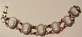 "Vintage Cameo Bracelet White Ladies Heads on light blue 6 1/2"" Unsigned - $55.95"