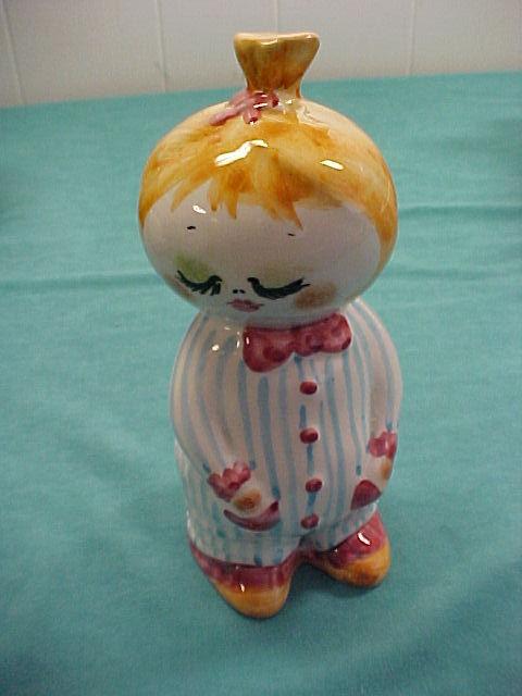 Charming Italian Art Pottery Girl Doll Piggy Bank Bonanza