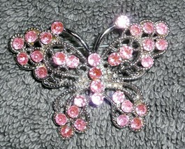 Butterfly Brooch Pink Rhinestones Silvertone - $8.80