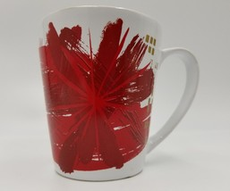 Red and Gold Starbucks Coffee Mug Tea Cup Christmas Flowers 2014 Holiday... - $24.99