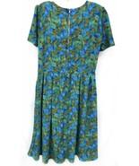 LuLaRoe AMELIA Dress Sz Medium Knit Green Blue Palm Leaves w/Pockets Womens - $33.25