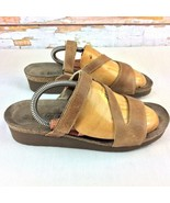 NAOT Israel Kayla Footbed Sandals Womens US 8 Euro 39 M Beige Leather Co... - $24.74