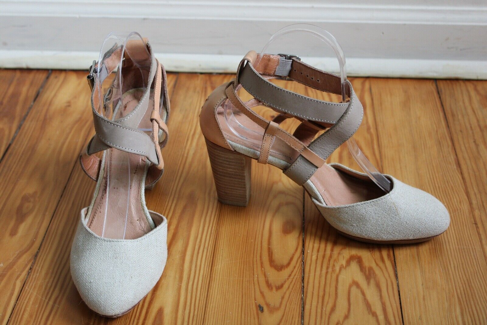 Primary image for Schuler & Sons Anthropologie 8 M Nalo Linen Leather Platform D'Orsay Heels