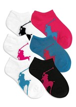Ralph Lauren Girls' or Little Girls' 6-Pack Big Pony No-Show Socks Size 4-6x - $13.85