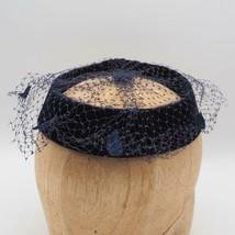 Vintage Mujer Fieltro Negro Malla Iglesia Vestido Derby Sombrero - $39.51