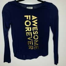 """H&M Girls Navy blue long sleeve """"Awesome Forever"""" Sz 8-10Y - $4.95"""