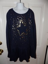 Lands' End Navy Blue Star Print Stretchy Dress Long Sleeve Size L (14+) EUC - $20.28