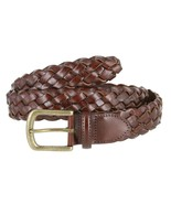 "Men's Genuine Leather Woven Braided Dress Casual Belt 1-3/8"" Wide Black ... - $17.95"