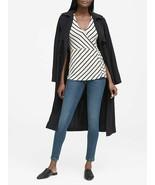 Banana Republic Soft Stretch Wrap Top, Modal, White, Black Stripe, Size ... - $42.50