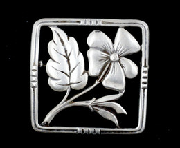 Antique Sterling Silver 1930's Square Floral Wild Flower Brooch Pin - $56.69