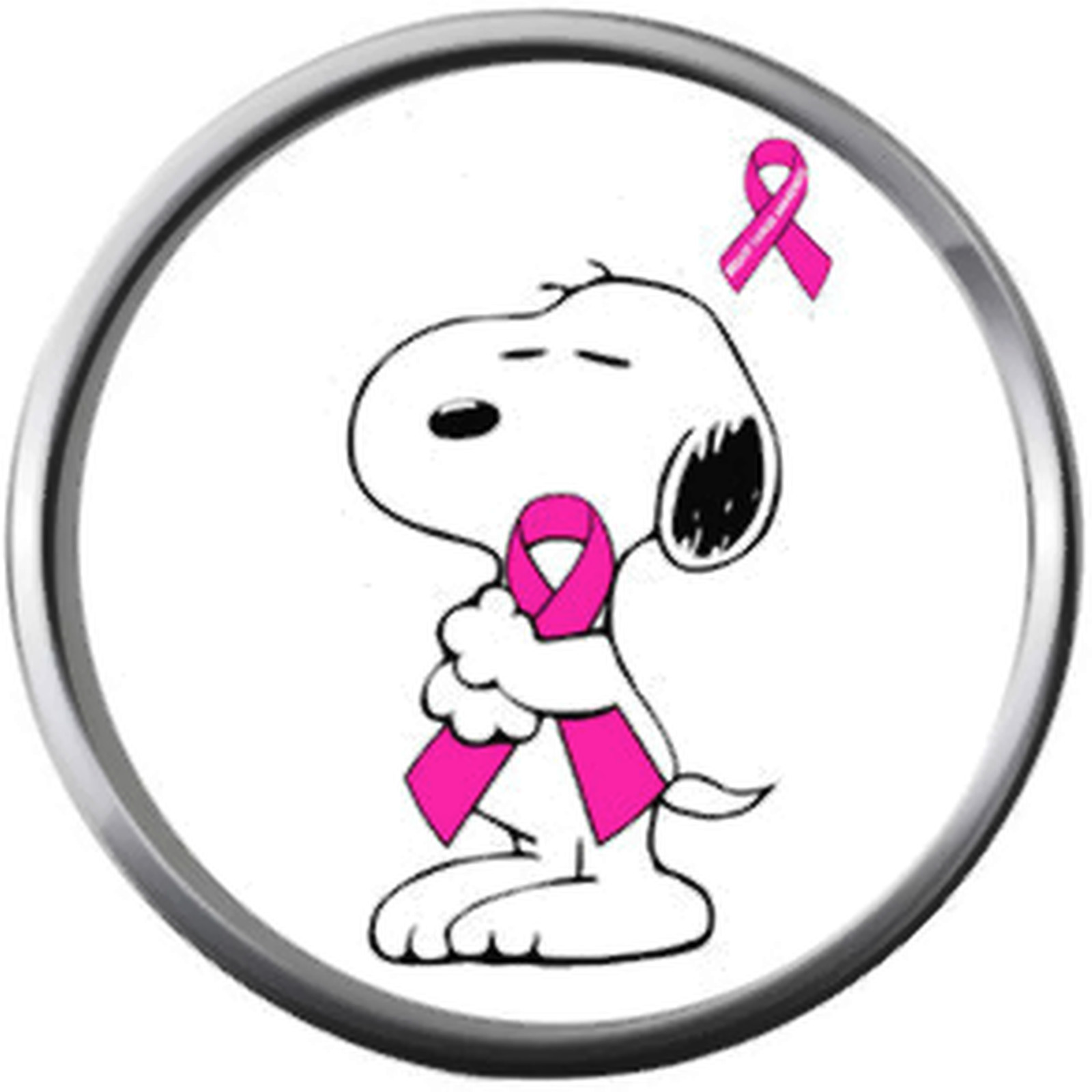 Breast Cancer Snoopy Hugs Survivor Pink Leather Bracelet W/2 Snap Jewelry Charms image 7