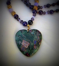 Vibrant Flourite Pyrite hanging Heart Pendant necklace - $47.00