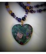 Vibrant Flourite Pyrite hanging Heart Pendant necklace - $47.00