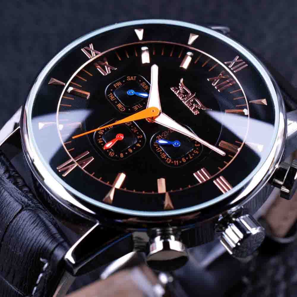 JARAGAR GMT954 Luminous Hands Automatic Mechanical Watches Black Leather Strap M