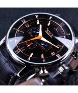 JARAGAR GMT954 Luminous Hands Automatic Mechanical Watches Black Leather... - $40.60