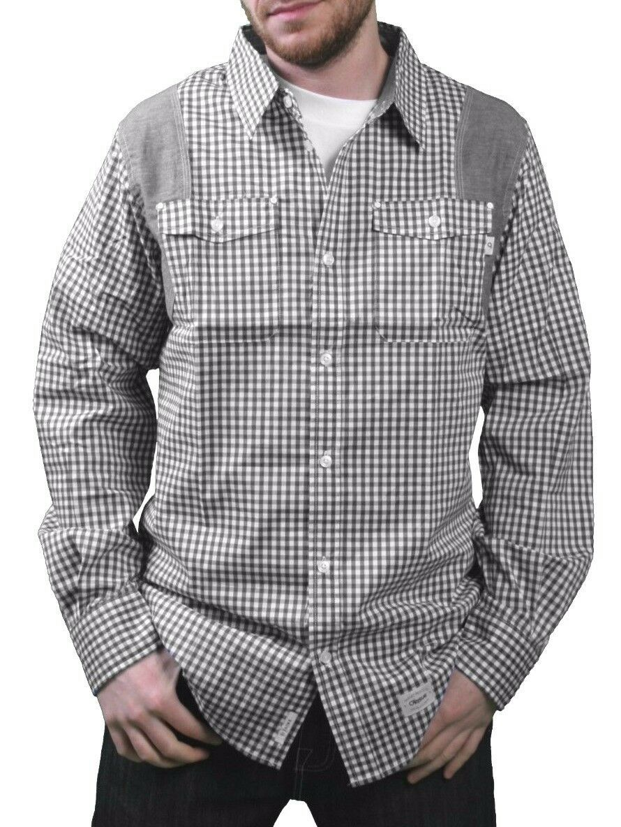 Orisue Noir Blanc Vichy Pittsburgh Manches Longues Tissé Bouton Bas T-Shirt Nwt