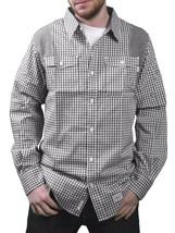 Orisue Noir Blanc Vichy Pittsburgh Manches Longues Tissé Bouton Bas T-Shirt Nwt image 1