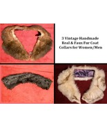 3 Vintage Handmade Real & Faux Fur Neck Coat Collars for Women/Men - $53.97