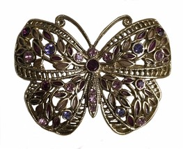 Vintage Butterfly Brooch Pin Purple Rhinestone Costume Jewelry - $20.19