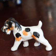 """VINTAGE TERRIER DOG FIGURINE JAPAN HAND PAINTED BLACK WHITE  3"""" L PORCELAIN - $34.99"""