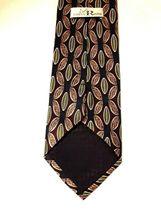 "Louis Roth Men's Tie Necktie 100% Silk Gold Black Burgundy Geometric 59"" x 4"" image 4"