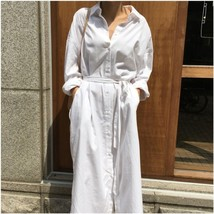 Turn Down Collar Long Sleeve Casual Dress For Women Tie Knot Front Butto... - $30.95