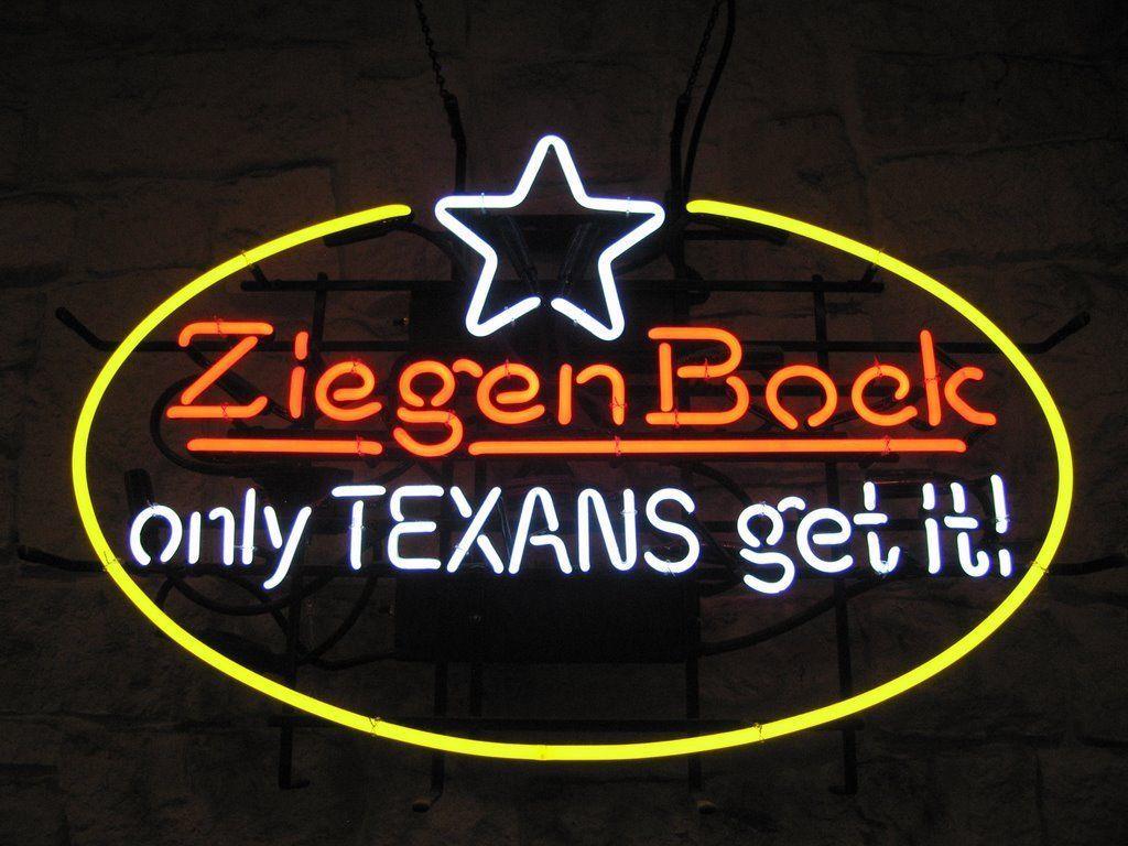 """New Ziegen Bock Only Texans Get It Beer Cerveza Neon Sign 24""""x20"""""""